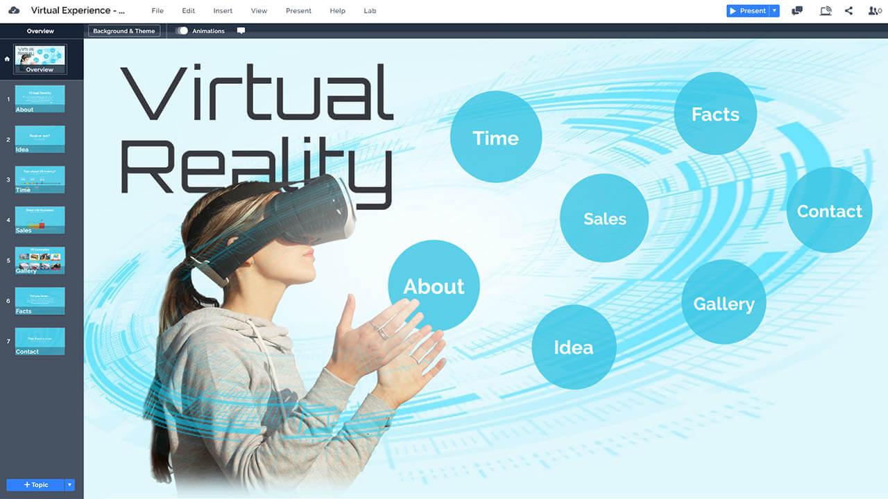 虛擬現實體驗-VR-Oculus公司裂谷耳機技術,prezi-下演示模板