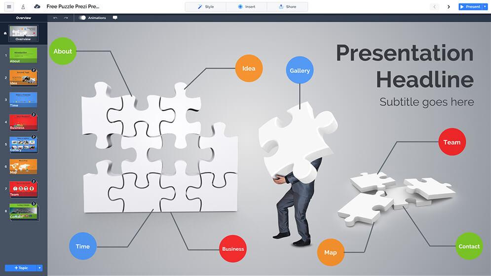 免費的3D業務益智問題和解決方案prezi-演示模板
