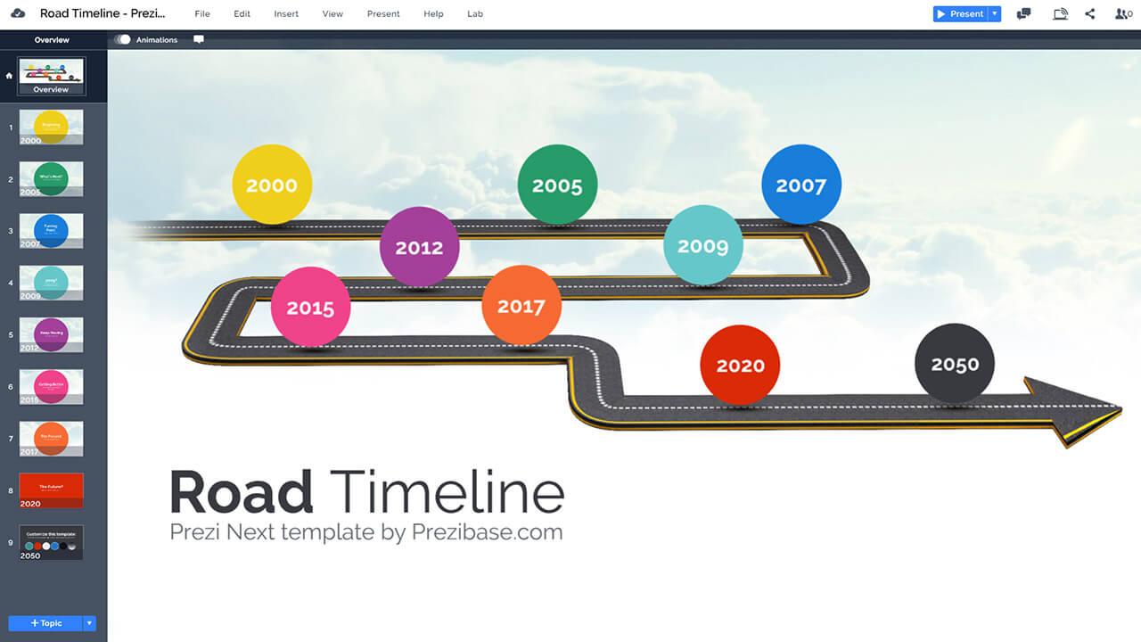 轉彎道路上,時間軸的里程碑 - 多彩天空背景 - 時間軸的prezi-演示模板