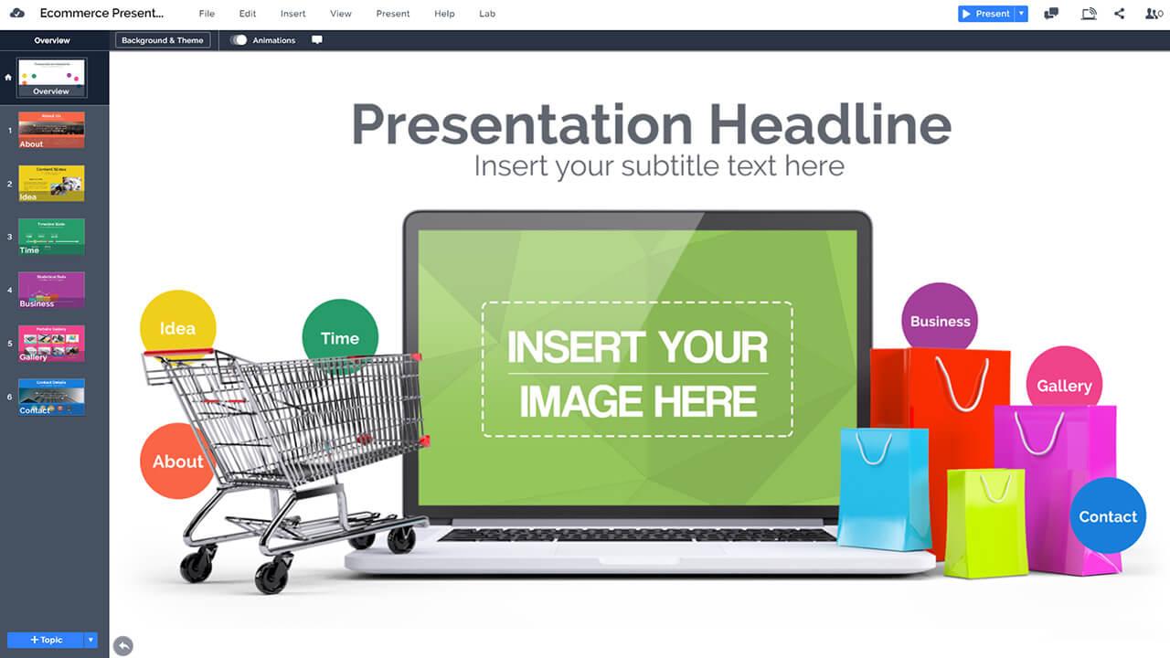 ecommerce-online-shopping-3d-gift-bags-on-laptop-powerpoint-presentation-prezi-template