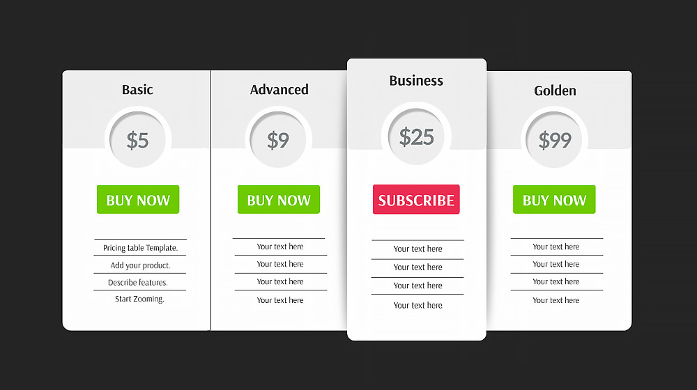 pricing table prezi presentation template