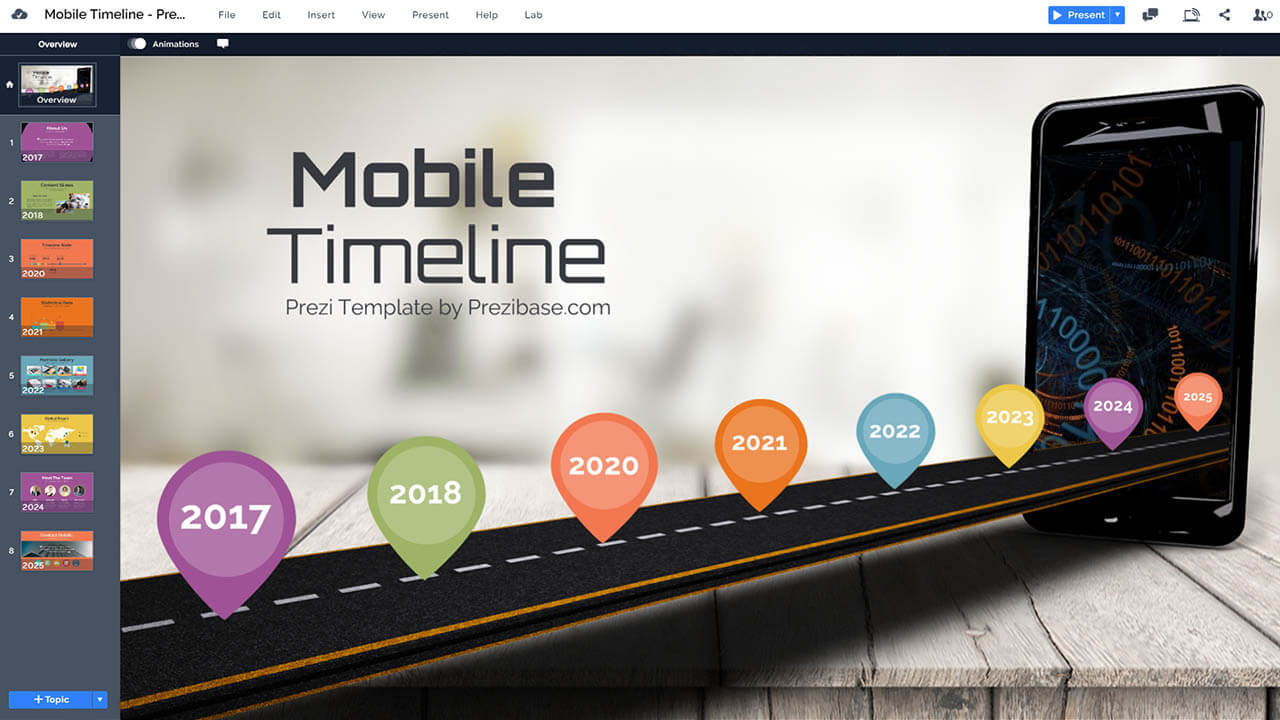 mobile-timeline-road-3D-goals-and-vision-iphone-roadmap-prezi-presentation-template