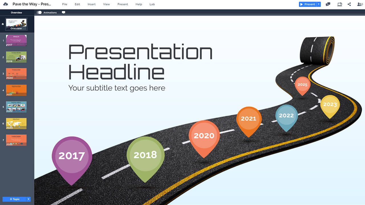 timeline-3d-roadmap-pave-the-way-asphalt-rolling-prezi-presentation-template